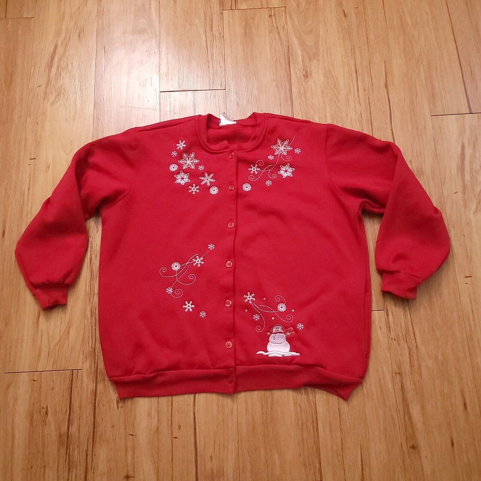 BonWorth Women's L Christmas Sweater Red Embroidered Snowman Snow Large