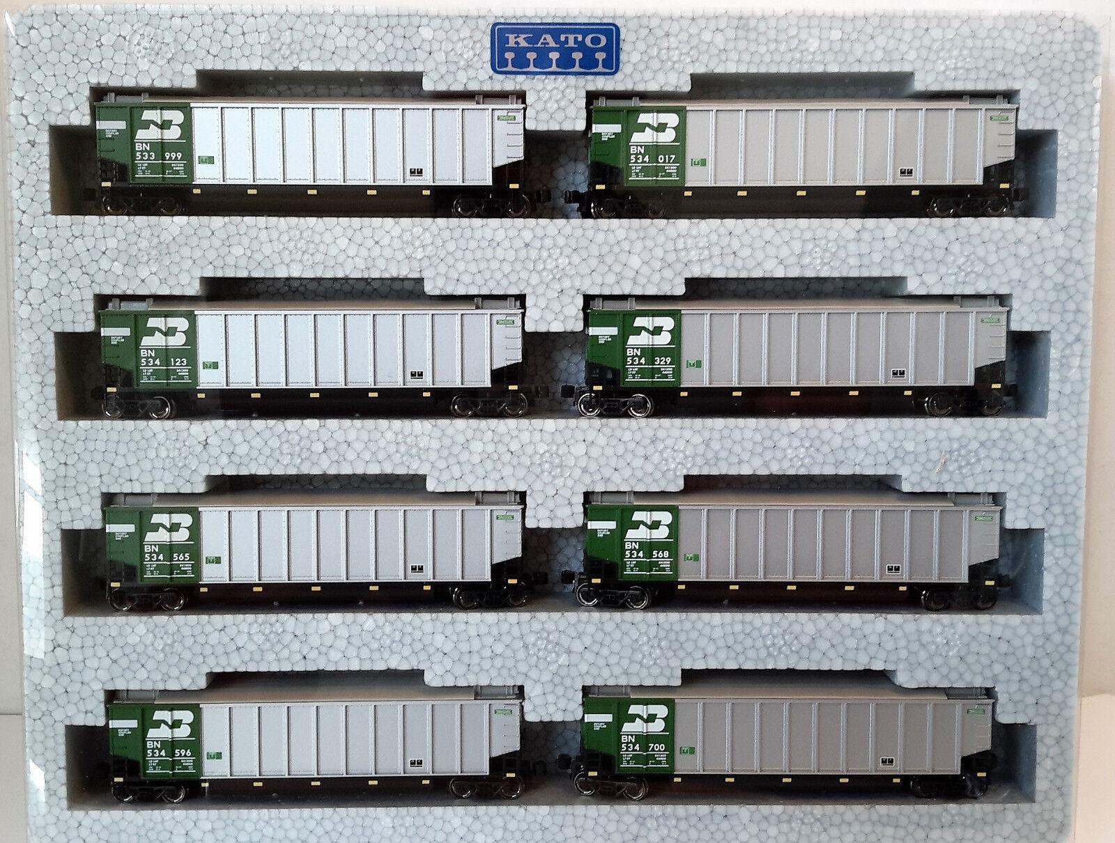 N Scale KATO Bethgon Predein Gondola 'Burlington Northern' (8) Car Set2 106-4651