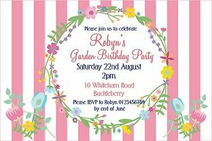 10 x Personalised Bridal Afternoon Tea Party Birthday Invitations