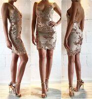 Womens Spaghetti Strap V Neck Sequins Sleeveless Bodycon Party Cocktail Dress