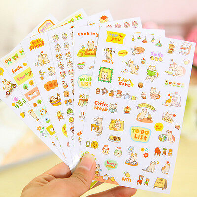 6pcs Lovely Cat Scrapbooking Memo Stickers Diary Sticker Decoration Sticker