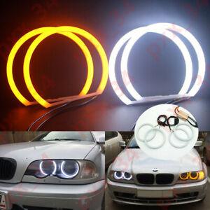 White-Yellow-Angel-Eyes-Halo-Ring-Cotton-Light-SMD-LED-For-BMW-E36-E38-E39-E46
