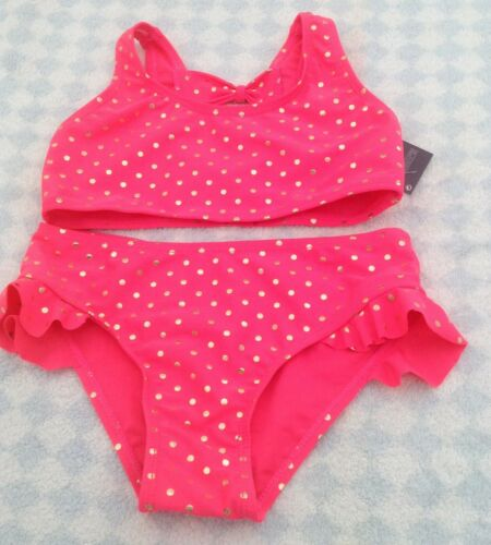girls pink frilly bikini cossie shiny gold polka dots several sizes new