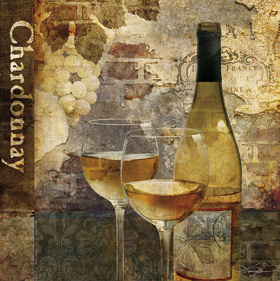 Keith Mallett: Chardonnay Keilrahmen-Bild Leinwand Wein Glas Küche Bar Flaschen