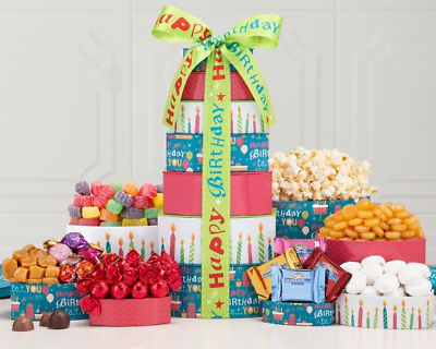 Happy Birthday Gift Basket Truffles Popcorn Butterscotch Cookies Free Shipping
