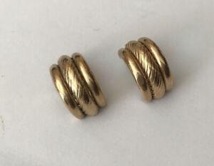 Vintage 9ct 9k Hallmarked Yellow Gold Hoop Clip On Earrings Rope Design