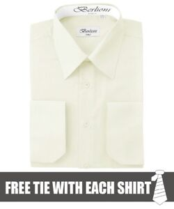 Details about Berlioni Men's Convertible Cuff Long Sleeve Dress Shirt Off White FREE TIE
