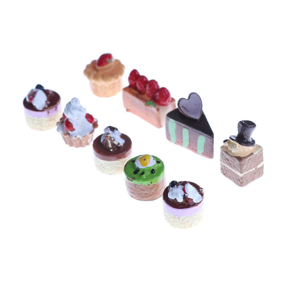 8Pcs Dollhouse Miniature Food Chocolate Strawberry Cakes Cupcake Toys  la