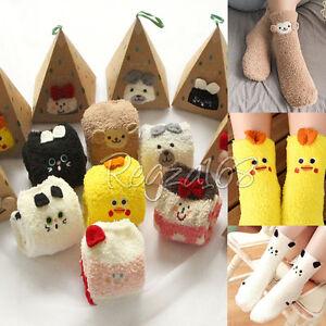 Kids-Children-Girls-Boys-Animal-Soft-Fluffy-Slipper-Socks-Leg-Warmer-4-13-years