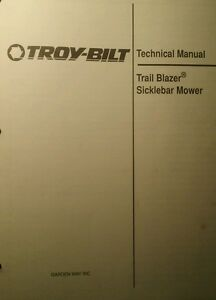 Details about Troy-Bilt Walk Behind Tractor Trail-Blazer Sickle Mower  Service & Parts Manual