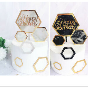 Nouveau-Hexagonal-Marbre-Acrylique-Or-Fete-Happy-Birthday-Cake-Topper-Gateau-Decoration