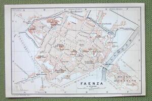 1909 MAP ORIGINAL Baedeker ITALY Faenza City Plan eBay