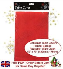 Red Christmas Table Cloth Cover Flannel Backed Dining Table Xmas Decoration