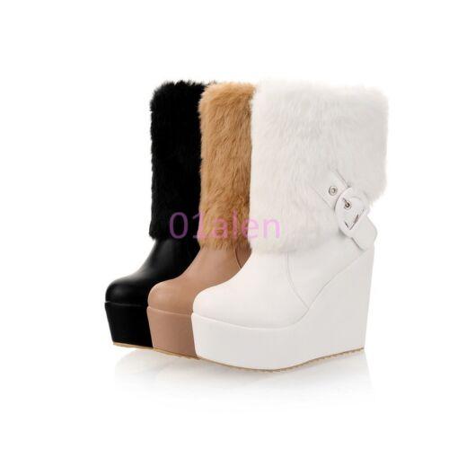 Femmes fourrure fourrure talons compensés Hiver Chaud Bottes Mi-mollet Chaussures EUR 48-34