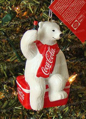 Coca Cola Polar Bear Sitting on Cooler Christmas Tree Ornament Coke CC1124 New