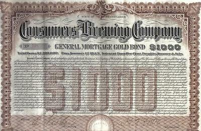 USA 1903 Mortgage 4/% Gold Bond Consumers Brewing Company $1000 Uncancelled beer