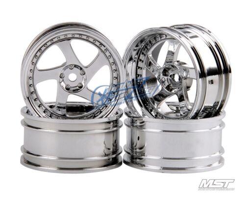 MST Silver TMB RC 1//10 Drift Car Wheels offset 8 4 PCS 102045S New