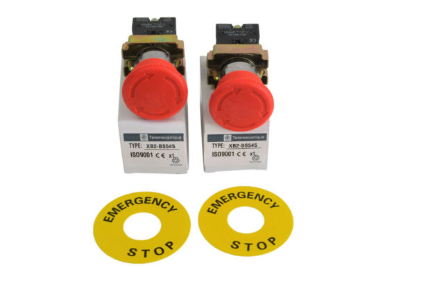 Emergency E Stop x 2 piece, Switch Electrical 12V 24V telemecanique XB2-BS545