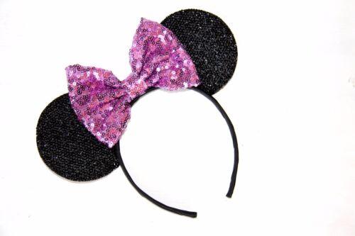 Blue// Silver Minnie Mouse Ears Headband Disney Rose Gold Red// Rainbow