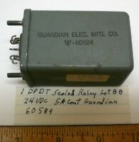 1 Sealed Relay Dpdt 5 Amp Contacts, 24 Vdc, Guardian 60584, Lot 88, Made In Usa
