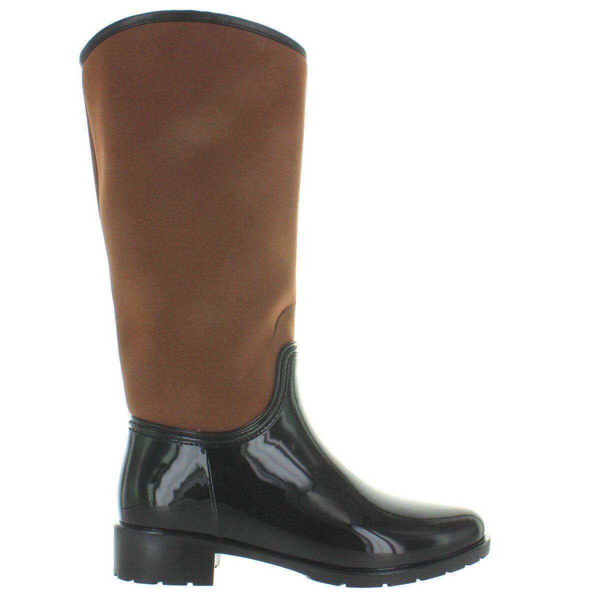 Kixters Cougar - Dark Brown Shiny Rubber Caramel Nylon Tall Rain Boot