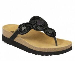 SCHOLL-ZARINA-BioPrint-sandali-infradito-ciabatte-pantofole-donna-zeppa-tessuto