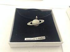 Saturn SPSAKR Pewter Emblem ON A BLACK CORD Necklace Handmade