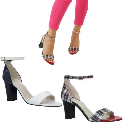 36-40 NEU Damen Sandaletten Blockabsatz Schnalle Sommer Modisch Elegant Gr