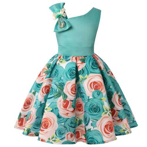 Girls Baby Bow Princess Baby Kids Party Wedding Bridesmaid FormalStripe Dresses