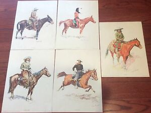 Vintage-Frederic-Remington-Lot-of-5-1956-Penn-Prints-Lithograph-Old-Man-etc