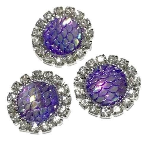 18mm purple mermaid scale rhinestone metal flat back button 1-5 pieces