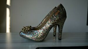 Rocket-Dog-Shoes-Size-3-heels-36-Ophelia-Sparkle-pu-multi-colour-beads-glitter