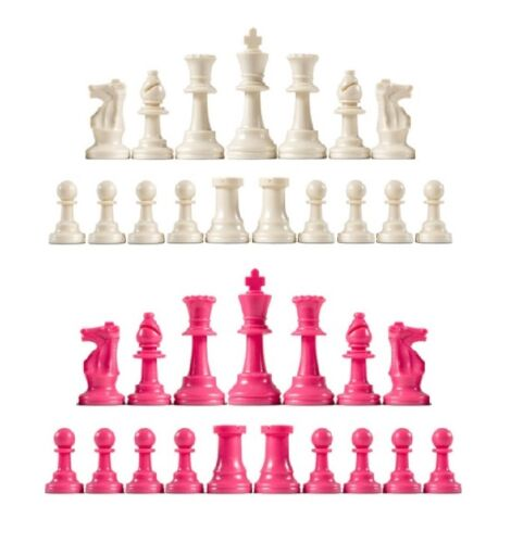 Full Set of 34 White /& Pink 4 Queens Staunton Single Weight Chess Pieces