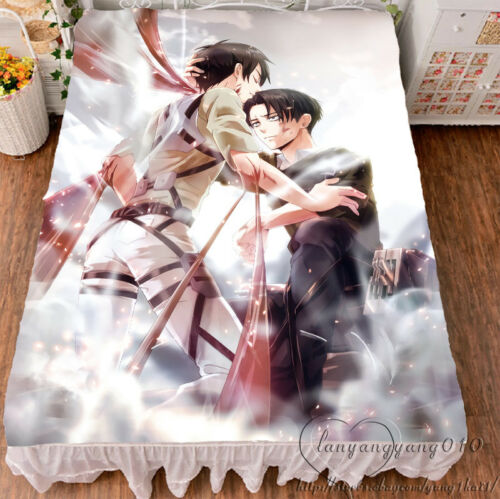 Anime Attack On Titan Bed Sheet Flat Comfort Sheet Bedding Flannel blanket 1.5x2