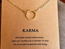 "Karma Circle Necklace gold dipped Gift 16-18"" forever love wish popular gift"