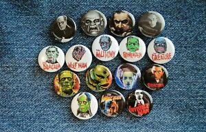 "Horror Universal Monsters Buttons Pins 1"" Pinback Dracula Frankenstein Phantom"