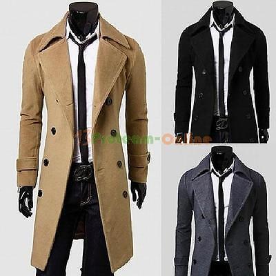 Men's Slim Long Jacket Stylish Trench Coat Winter Warm Double Breasted Overcoat