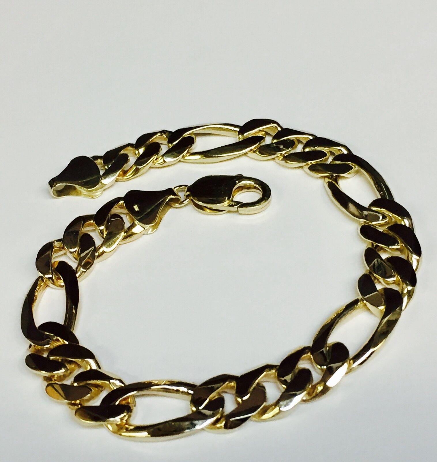 10k Solid Yellow gold Handmade Figaro Curb Link Mens Bracelet 9.5  46 grams 12MM