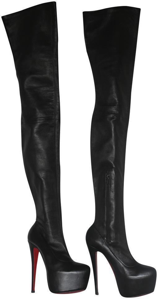 CHRISTIAN CHRISTIAN CHRISTIAN LOUBOUTIN Monicarina Leather Platform Thigh High Daf Boots 160 Heel 37 05c931