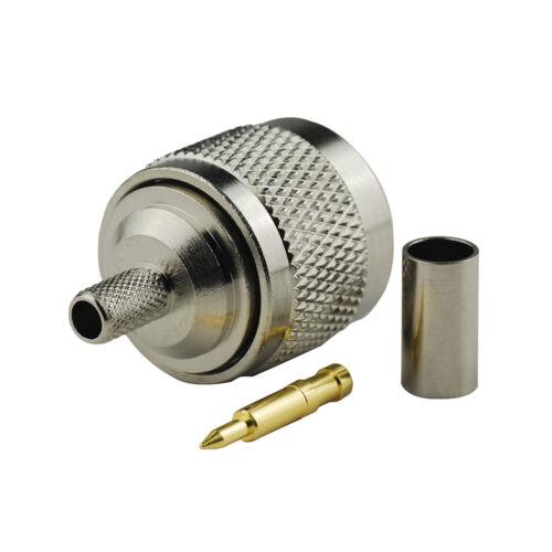 N male plug crimp RG58 RG142 LMR195 RG400 cable straight RF Coaxial connector