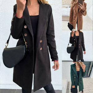 Jacket-Winter-Ladies-Blazer-Trench-Overcoat-Woolen-Coat-Long-Womens-Size-S-3XL