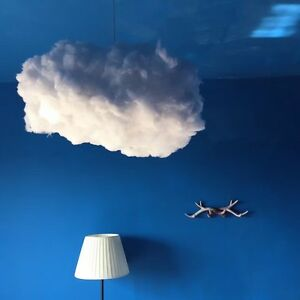 Art white floating cloud lampshade ceiling chandelier light pendant image is loading art white floating cloud lampshade ceiling chandelier light mozeypictures Images