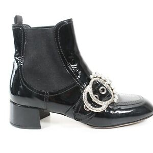 Miu-Miu-Black-Crystal-Boots-Embellished-Buckle-Patent-Leather-7-5-38