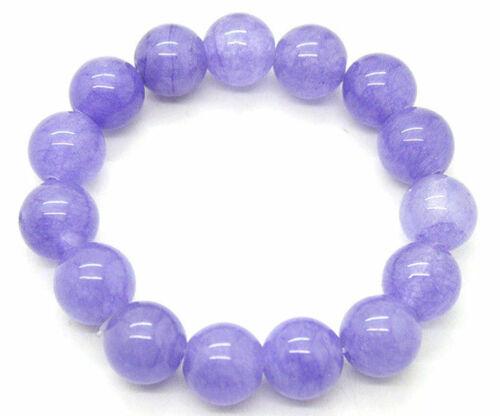 "Pretty 12 mm Lavande Jade jadeite pierres précieuses Perles rondes Stretch Bracelet 7.5/"""