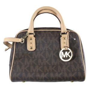 26344c384d32 Michael Kors MK Signature Small Satchel Bag Retail 35T1GMKS1B Brown PVC