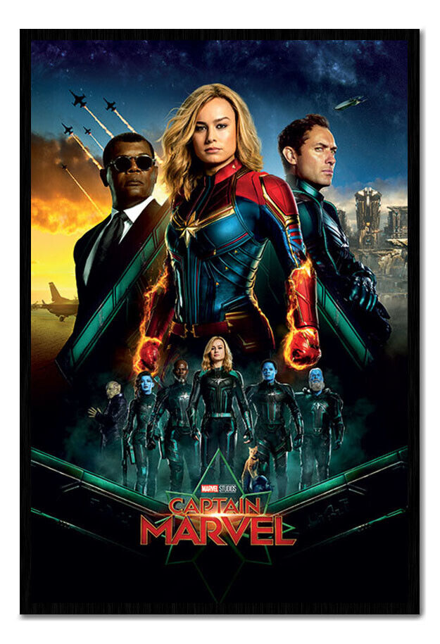 Captain Marvel Epic Heroes Framed Cork Pin Notice Board With Pins