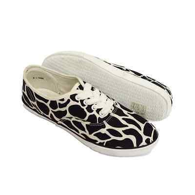 Chicas Con Cordones Estampado Animal Negro Blanco Lona Playera Pumps Ladies 3 4 5 6 7 8