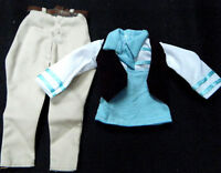 Barbie Ken Action Man Doll Clothes 3 Piece Outfit Top Waistcoat & Trousers Uk