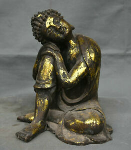Bouddhisme du Tibet Bronze Doré Assise Dormir Shakyamuni Amitabha Bouddha Statue