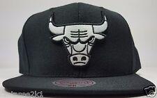 Chicago Bulls Mitchell & Ness Black Solid Wool Vintage HWC Snapback Hat Cap NBA